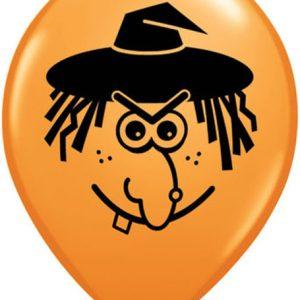 Orange Qualatex Witch Face Balloon 5 inch