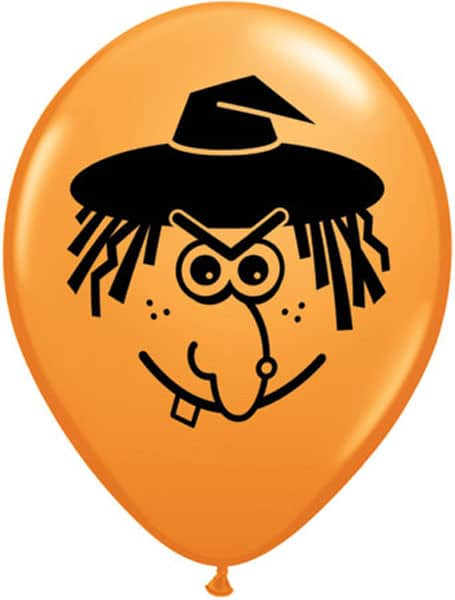 Orange Qualatex Witch Face Balloon 5 inch