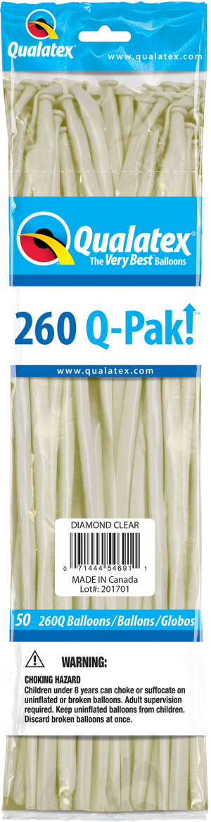 Diamond Clear Q-Pak Qualatex Modelling Balloons 260Q