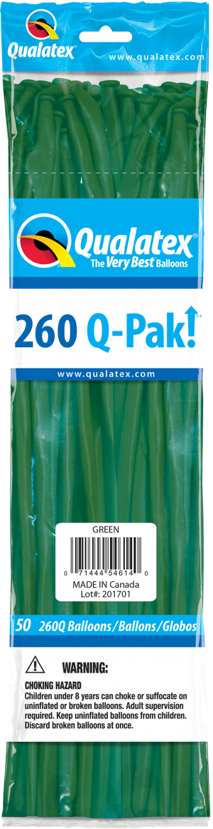Green Q-Pak Qualatex Modelling Balloons 260Q