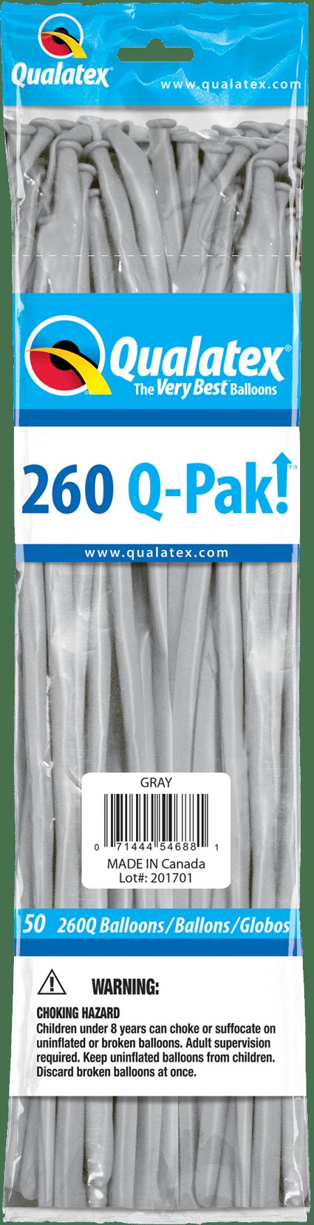 Grey Q-Pak Qualatex Modelling Balloons 260Q