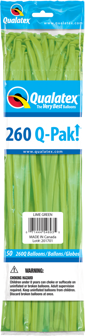 Lime Green Q-Pak Qualatex Modelling Balloons 260Q