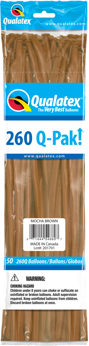 Mocha Brown Q-Pak Qualatex Modelling Balloons 260Q