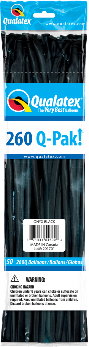 Onyx Black Q-Pak Qualatex Modelling Balloons 260Q