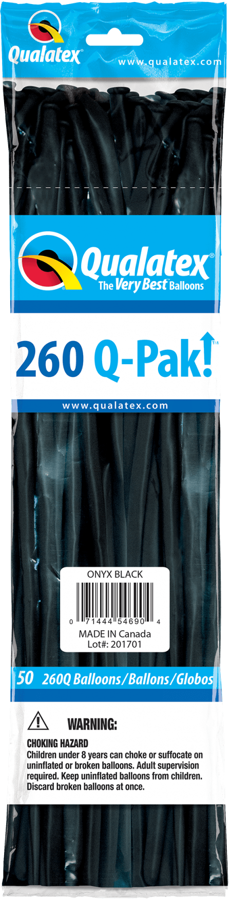 Onyx Black Q-Pak Qualatex Modelling Balloons 260Q