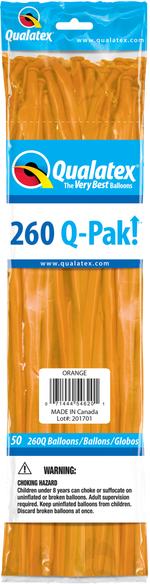 Orange Q-Pak Qualatex Modelling Balloons 260Q