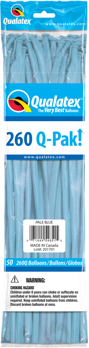Pale Blue Q-Pak Qualatex Modelling Balloons 260Q