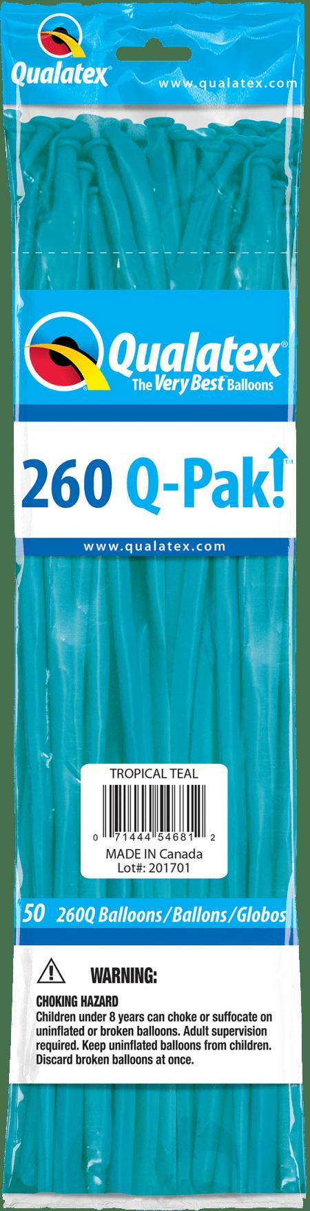 Tropical Teal Q-Pak Qualatex Modelling Balloons 260Q