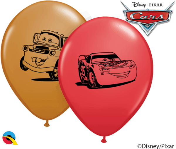 "5"" print Cars Disney Lightening McQueen and Mater Qualatex Balloon"