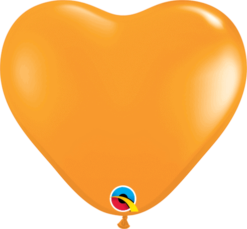"6"" Orange Heart Qualatex Modelling Balloon."