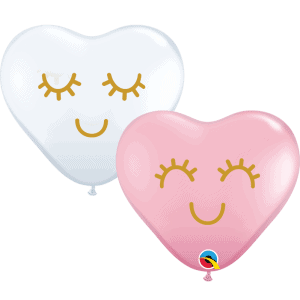 "Eyelashes 6"" heart balloons Qualatex pink and White"
