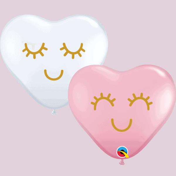 "Eyelashes 6"" heart balloons Qualatex pink and White"